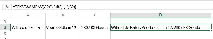 Excel 2016 - TEKST.SAMENVOEGEN